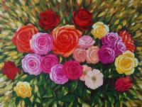 Flowers - Roses - Oil On Canvas