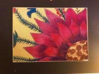 Flower Collection - Pink Flower On Yellow Acrylic Canvas - Acrylics