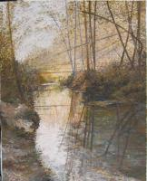 Landscape - By The River - Acril On Canvas