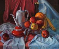Still-Life - Still-Lifer With Apples - Oil On Canvas