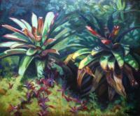 Botanical Beauty - Oil On Canvas Paintings - By Claudia Thomas, Closed Landscape Painting Artist