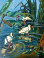 Birds - 3 Ibis Wading - Oil On Canvas
