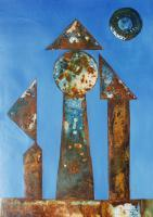Real And Surreal World - Vu 164 Iron Sculpture With Three Figures - Ferroprint