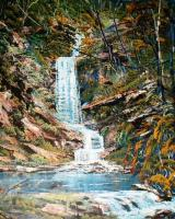 The Water Fall - Acrylic Paintings - By Len Hend, Landscape Painting Artist