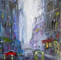Wet Avenue - Acrylic On Canvas Paintings - By Steven Graff, Abstract Realism Painting Artist