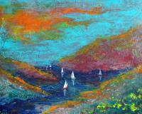 Sail The River - Acrylic On Canvas Paintings - By Steven Graff, Expressive Painting Artist