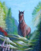 Horse On Ledge - Acrylic On Canvas Paintings - By Steven Graff, Realism Painting Artist