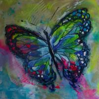 Expressive - Butterfly E - Acrylic On Canvas