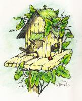 Love Nest - Pen  Ink With Watercolors Paintings - By Daren Tanner, Greeting Cards Painting Artist