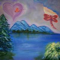 Dragonfly - Acrylic Paintings - By Carol Plattner, Abstract Fantasy Painting Artist