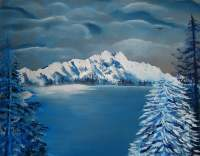 Nini Arts Studio - Blue Winter Lake - Acrylic