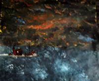 Seascape - Dark Sea Dark Sky - Acrylic  Ink