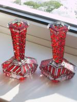 Candel Sticks - Glass Paints Glasswork - By James Woollen, Art Deoc Stained Glass Glasswork Artist