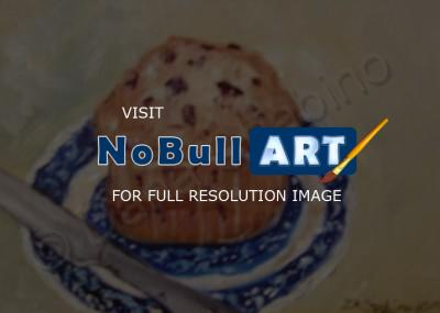 Oil Paintings - Blue Berry Muffin On Blue Willow - Oil