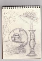 Sketches - Sketch - Coffee House Still Life - Graphite Pencil