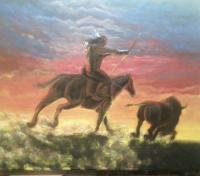 Say It In Stone - Native Hunt - Painting