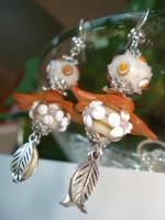 Every Day Earrings - Orange Splash With Honey - Lampwork Glass