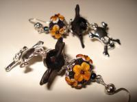 Every Day Earrings - Happy Halloween - Lampwork Glass
