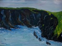 Irish Land And Seascape - Cape Clare Island Windward Side - Oil On Canvas Panel