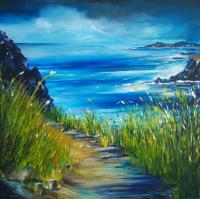 Irish Land And Seascape - West Coast Of Ireland - Acrylic On Canvas