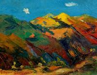 Dance Of Mountain - Oil On Cardboard Paintings - By Gegham Asatryan, Impressionism Painting Artist
