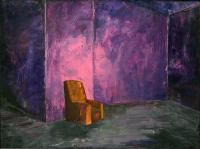 Chair In Room - Oil On Canvas Paintings - By Davidh Miller, Expressionism Painting Artist