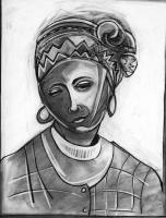 Drawings - Woman With Scarf - Charcoal