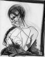 Drawings - Woman In Lace - Charcoal