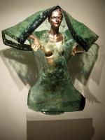 The Golden Girl - Glass And Bronze Patina On Pol Sculptures - By Kiril Tzotchev, Contemporary Classical Realism Sculpture Artist