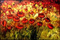 Field Of Poppies By Peggy Garr - Oil  Acrylic On Canvas Paintings - By Peggy Garr, Modern Abstract Contemporary Painting Artist
