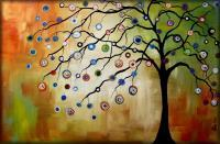 Modern Abstract Trees - Gumdrop Tree - Oil  Acrylic On Canvas