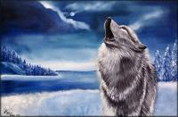 Wildlife Landscape Wolves - Lone Wolf - Oil  Acrylic On Canvas