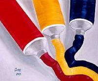 Modern Abstract Art - Primary Colors - Oil  Acrylic On Canvas