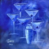Martini Art - Blue Martinis - Oil  Acrylic On Canvas
