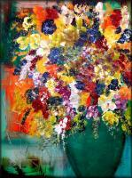 Modern Abstract Flowers - Flowering - Oil  Acrylic On Canvas
