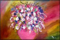 Modern Abstract Flowers - Alluring Arrangement - Oil  Acrylic On Canvas