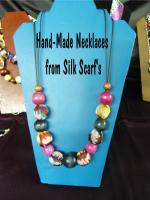 Silk Scarf Necklaces - Hand-Made Silk Scarf Necklaces - Silk And Beads