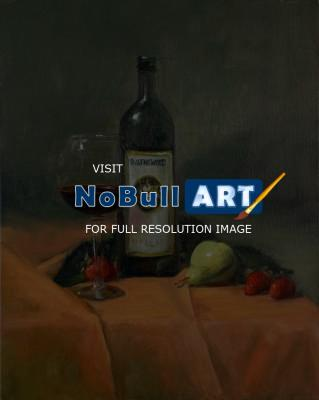 Still Life - Wine And Fruit - Oil