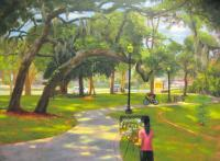 Landscape - Painting In The Park - Oil