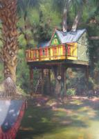 Landscape - Majestic Tree House - Oil