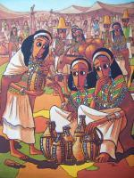 Bale Market - Acrylics On Canvas Paintings - By Nebiyu Assefa, Traditional Painting Artist