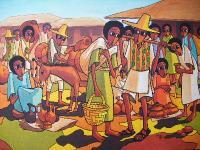 Market  Day - Acrylics On Canvas Paintings - By Nebiyu Assefa, Traditional Painting Artist