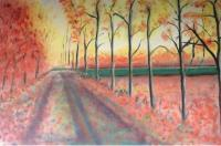 Autumn - Country Road - Oil On Canvas
