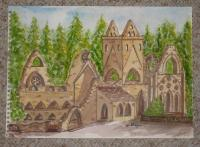 Old Ruins - Ruined Abby - Water Colour Paint And Water C