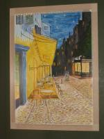 Interpretation - Impresion Of Van Gough Street Cafe - Water Colour