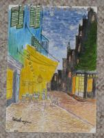 Interpretation - Miniture  Impresion Of Van Gough Street Cafe - Water Colour