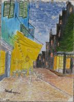 Interpretation - Miniture  Impresion Of Van Gough Street Cafe By Night - Water Colour