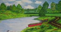 Landscapes - The Red Boat - Water Colour