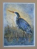 Blue Heron - Water Color And Wax Paintings - By Bonnie Olendorf, Batik On Rice Paper Painting Artist