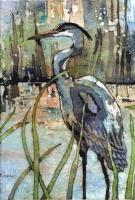 Batik - Heron In The Reeds - Water Color And Wax